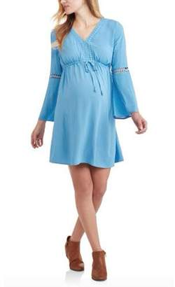 Paisley Sky Maternity Bell Sleeve Peasant Dress With Trim