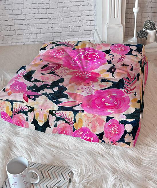 Stephanie Corfee Pink Floral Floor Pillow