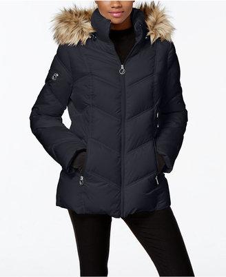 Nautica Faux-Fur-Trim Hooded Puffer Coat $195 thestylecure.com