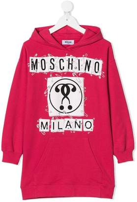 Moschino Kids logo print hoody dress