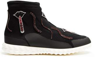 Valentino Lipstick-appliqué body-tech high-top trainers