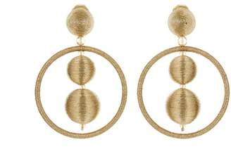 Oscar de la Renta Threaded Bead Hoop Earrings