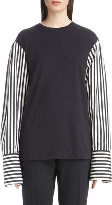 Dries Van Noten Poplin Sleeve Knit Top