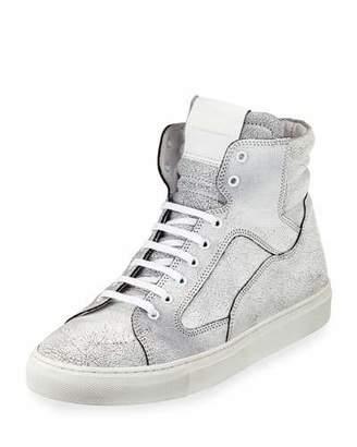 Public School Men's Artel Cracked Leather High-Top Sneakers