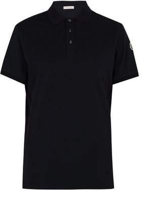 Moncler Cotton Pique Polo Shirt - Mens - Navy