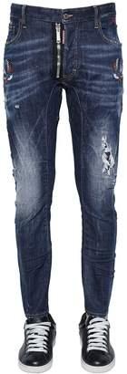 DSQUARED2 17cm Tidy Biker Tattoo Birds Denim Jeans