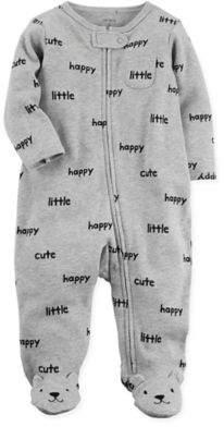 Zip-Front Happy Sleep & Play Footie in Grey