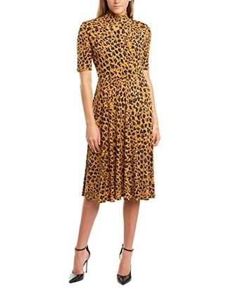 Donna Morgan Women's 3/4 Sleeve Mock Neck Leopard Print Matte Jersey Dress