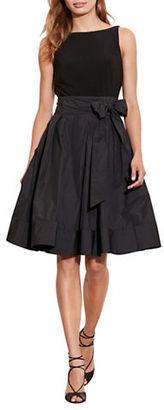 Lauren Ralph Lauren Sleeveless Jersey-Taffeta V-Back Fit and Flare Dress $198 thestylecure.com