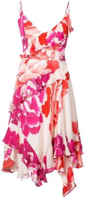 Josie Natori peony print ruffle dress