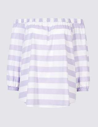 Marks and Spencer Pure Cotton Striped 3/4 Sleeve Bardot Top