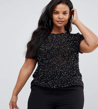 0c057994d87 Asos DESIGN Curve t-shirt with sequin embellishment