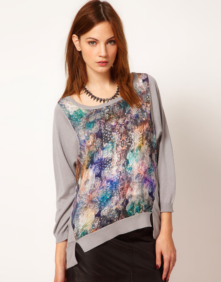 Warehouse Feather Print Sweater