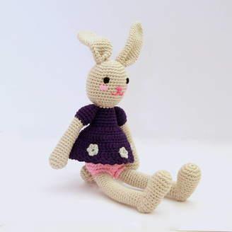attic Hand Crochet Bunny In Purple Dress