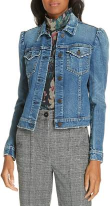Rebecca Taylor Puff Shoulder Leather Jacket