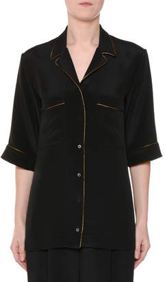 Stella McCartney Short-Sleeve Button-Front Silk Pajama Top