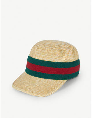 Gucci Striped cotton-knit and raffia cap