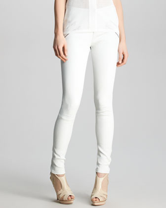 J Brand Ready to Wear Claudette Slim Leather Pants, White