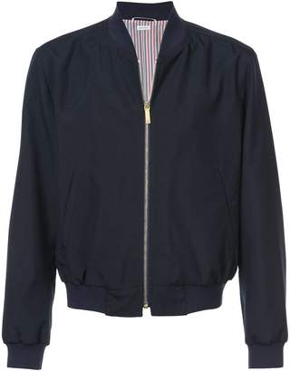 Thom Browne Zip Front Blousson Ribbed Jacket With Center Back Red, White And Blue Selvedge In School Uniform Plain Weave