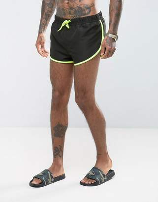 Asos Swim Shorts With Extreme Side Split In Black With Side Mesh Detail In Super Short Length