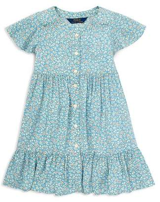Ralph Lauren Girls' Shirred Floral Dress - Big Kid