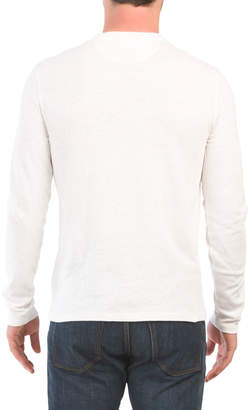 Side Slit Long Sleeve Henley Tee