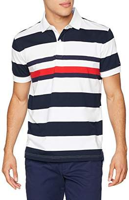 Tommy Hilfiger Men's Corporate Stripe Regular Polo Shirt, Multicolour (Sky Captain/Bright White 902)