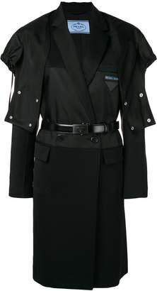 Prada black hooded trench coat