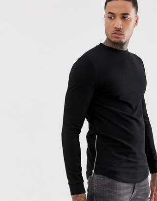 Asos Design DESIGN muscle longline sweatshirt with curved hem in black with silver side zips