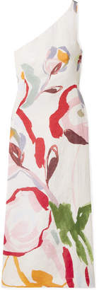 Cult Gaia Louise One-shoulder Cutout Floral-print Linen Midi Dress - Red