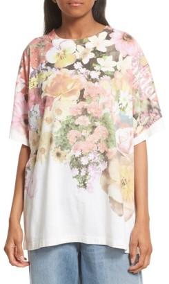 Women's Mm6 Maison Margiela Floral Print Tee $370 thestylecure.com
