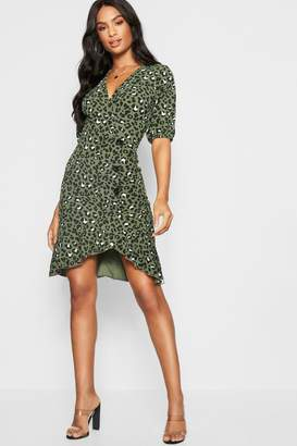 boohoo Tall Leopard Print Mock Horn Button Wrap Dress