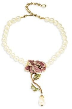Heidi Daus Faux Pearl & Crystal Rose Necklace