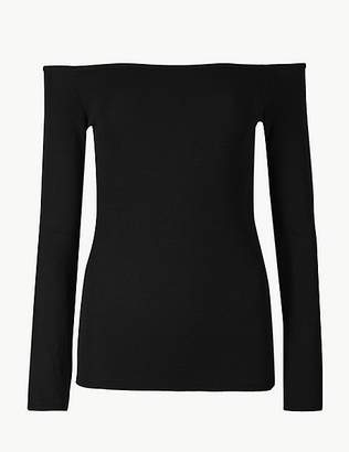 Marks and Spencer Textured Long Sleeve Bardot Top