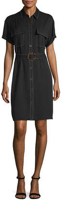 WORTHINGTON Worthington Short Sleeve Shirt Dress- Tall