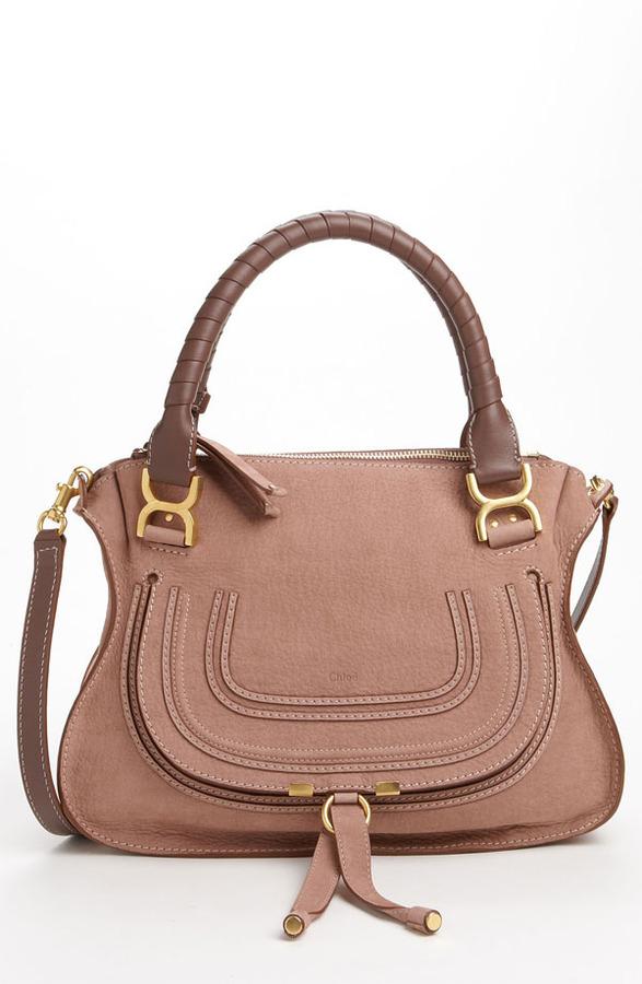 chloe 39 marcie small 39 nubuck leather shoulder bag sold. Black Bedroom Furniture Sets. Home Design Ideas