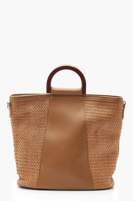 9729b91edec9b2 boohoo Wooden Handle Straw Panel Tote Bag