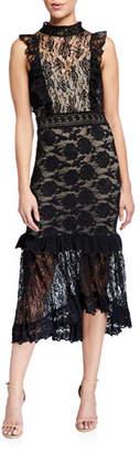 Nightcap Clothing Victorian Apron Mock Neck Sleeveless Maxi Dress