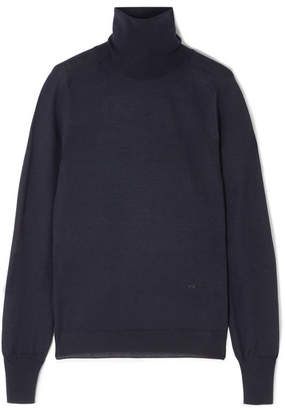 Victoria Beckham Merino Wool Turtleneck Sweater - Navy