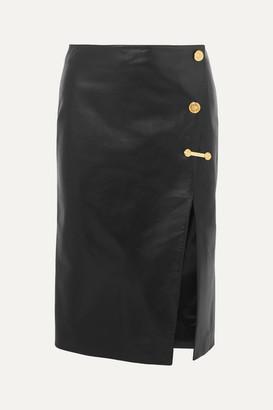 Versace Embellished Leather Skirt - Black