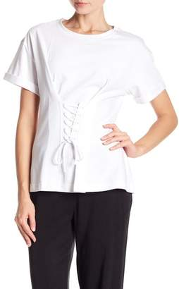 Laundry by Shelli Segal Short Sleeve Corset Detail Shirt