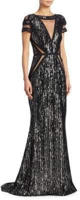 Talbot Runhof Sequin Velvet Gown