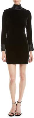 Cinq à Sept Felicity Turtleneck Velvet Long-Sleeve Mini Dress