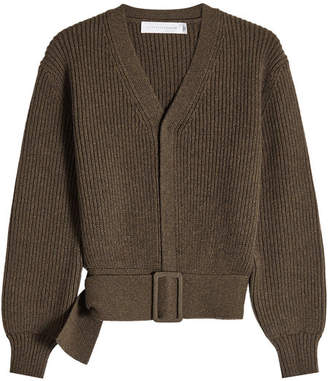 Victoria Beckham Ribbed Wool Belted Cardigan