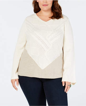 Style&Co. Style & Co Plus Size V-Neck Mixed-Stitch Sweater