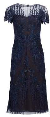 David Meister Women's Floral-Embroidered A-Line Dress - Navy - Size 14