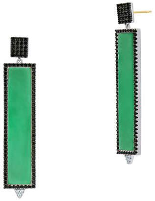 Freida Rothman Industrial Finish Green Agate Rectangle Earrings