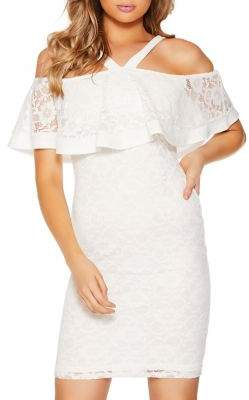 Quiz Lace Cold-Shoulder Top