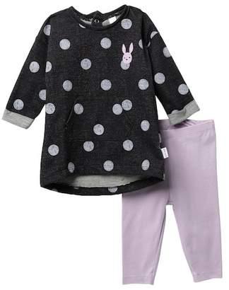 Petit Lem Doodle Dot Dress & Leggings Set (Baby Girls)