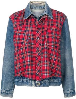 R 13 layered check denim jacket